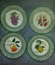 Raymond Waites Cornucopia Fruit Lattice ~ Fruits~ Salad Plates Complete ... - $24.74