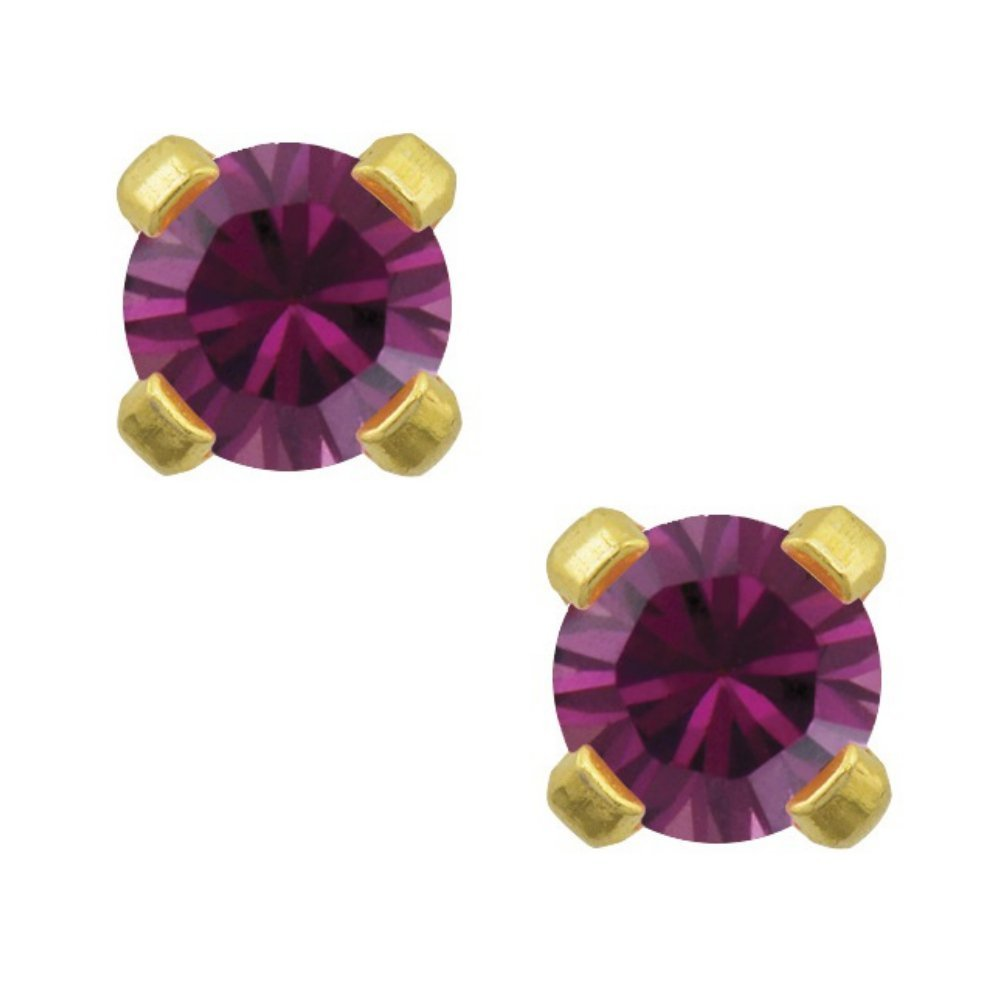 Primary image for Studex Tiny Tips 3mm February / Amethyst CZ Birthstone Gold Plated Childrens Hyp