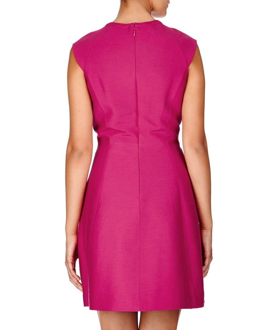 New $495 Womens Halston Heritage 6 Dress Designer Dark Pink NWT Cut Out Neck image 4