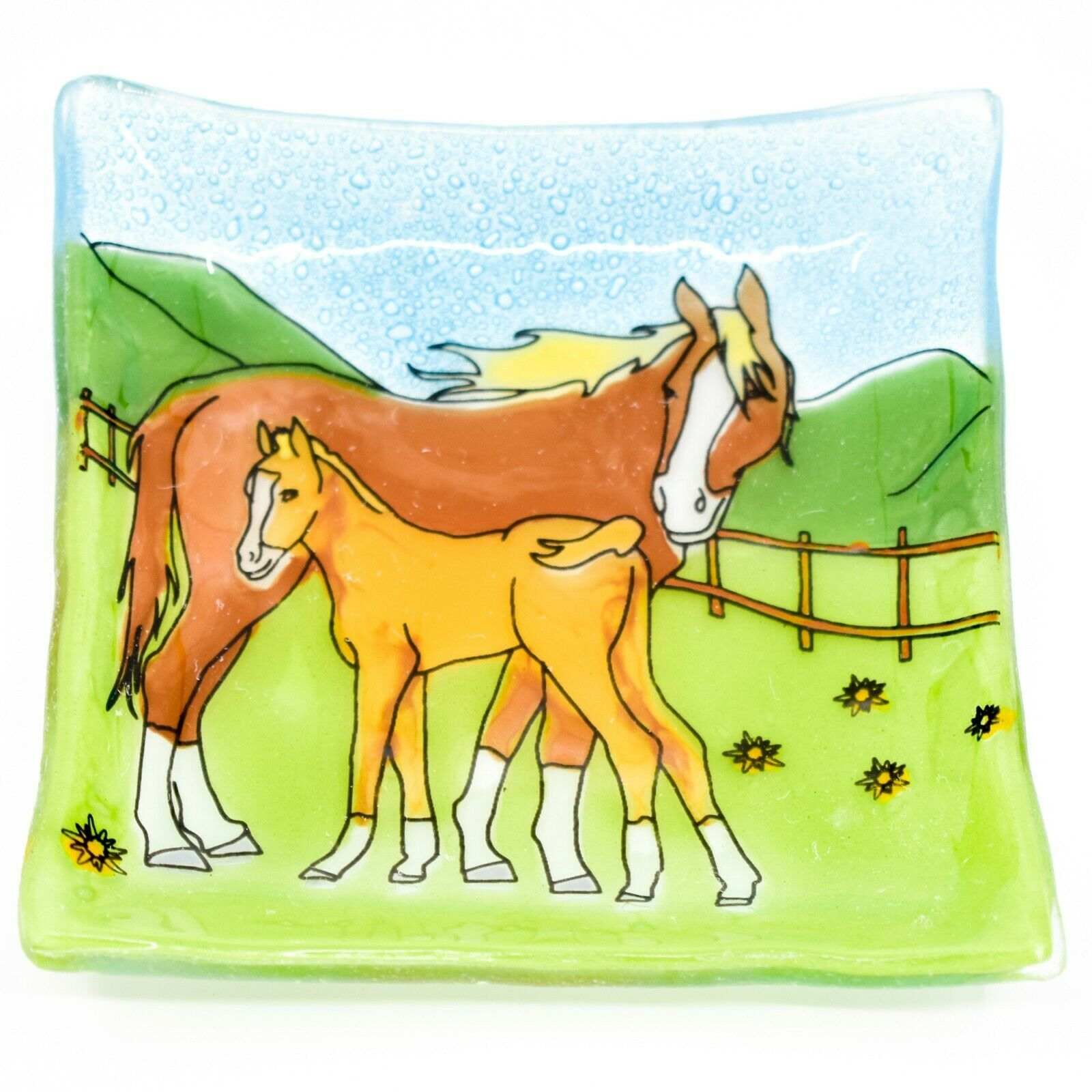 Fused Art Glass Mare & Foal Horse Farm Country Design Soap Dish Handmade Ecuador