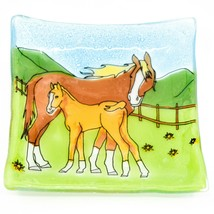 Fused Art Glass Mare & Foal Horse Farm Country Design Soap Dish Handmade Ecuador image 1