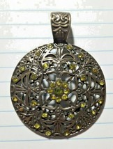 Large Bronze Pendant With Swarovski Flat Back Crystal Peridot Bicones - $21.97