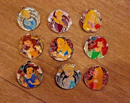 Disney Tokyo Japan Disneyland Princess Stained Glass Pin Set of 9 - $69.29
