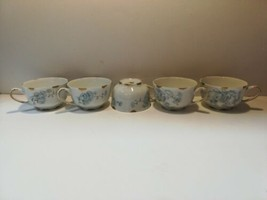 """Lorenz Hutschenreuther Set Of Five 3.5"""" Tea Cups Germany White Gold Floral - $38.61"""