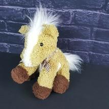 "Melissa Doug Meadow Medley Plush Pony Stuffed Animal 8"" Tan White Horse Ribbon - $20.78"