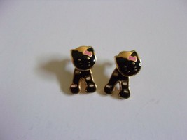 Vintage Kitty Cat Post Earrings with Moving Heads Gold Tone - $15.00