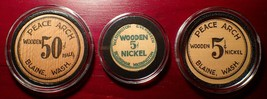 Lot of 3 1933 Blaine and Bellingham Washington Wooden coins Depression S... - $179.99