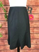 Anne Klein Skirt size 10 Gray Blue Pinstripe Knee A Line Flared Modest C... - $19.97