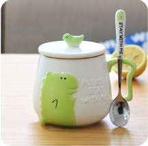 Green Crocodile Mugs Coffee Milk Tea Cup Drinkware + Cover Lid + Spoon - $32.95