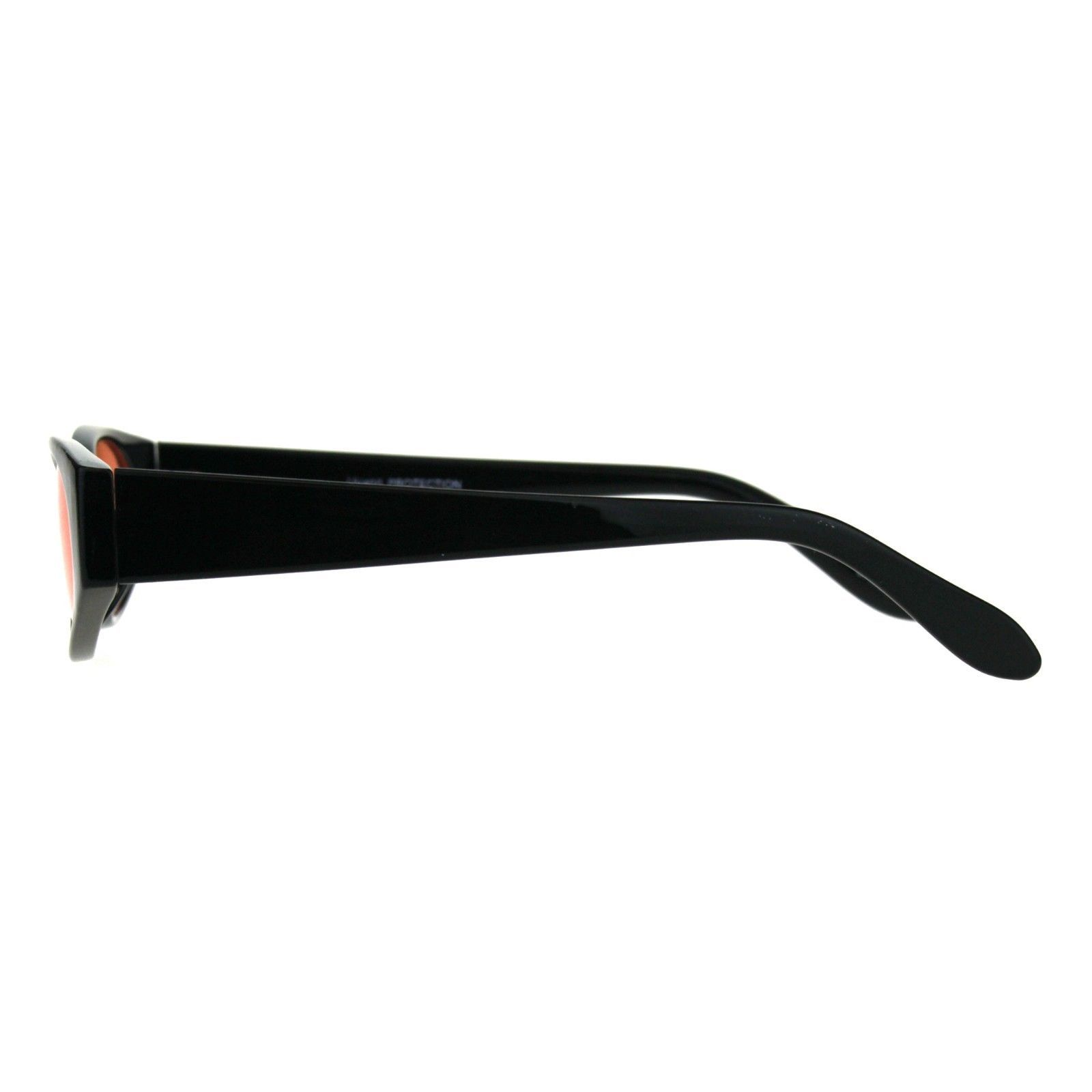 Womens Super Slim Sunglasses Black Oval Frame Modern Style Shades Color Lens