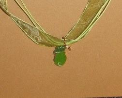 Artisian Handcreated Enamel Green Pear pendant on Voile Cord Reduced