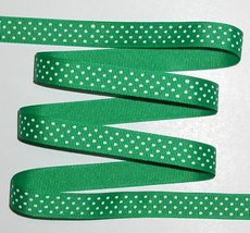 Kelly Green White Grosgrain Ribbon Emerald Swiss Dots 6 Y 5/8 Small Polk... - $4.50