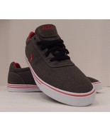 POLO RALPH LAUREN MENS SIZE 15 D GRAY RED RIPSTOP CANVAS FASHION SNEAKER... - $39.59
