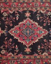 Tribal Wide Gallery Runner Persian Genuine Handmade 4x10 Black Sarouk Wool Rug image 11