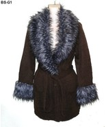 Romeo & Juliet Couture Sz Lg Faux Fur Trim Brown Cardigan Sweatercoat  NWT - $32.99