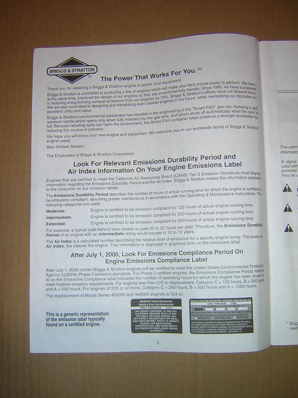 Briggs & Stratton Model 40F700- 446700 Operating & Maintenance Booklet