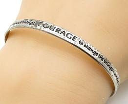 925 LA Sterling Silver - Vintage Engraved Serenity Prayer Cuff Bracelet ... - $31.49