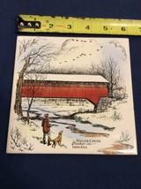 Vintage Trivet Ceramic Accent Wall Tile Sugar Creek Bridge Indiana 6x6 - $10.93