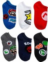 SUPER MARIO BROS. LUIGI YOSHI KOOPA 6-Pack Low Cut No Show Socks Kids Ag... - $11.99