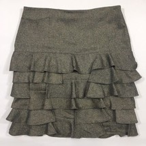 Talbots Olive Green Stretch Tweed Skirt Womans 14 Ruffled Tiered Flirty Career - $33.81