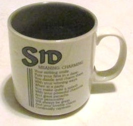 "SID Name Meaning ""CHARMING"" Poem byn Marci G. Coffee Collectible Name Mug Papel"