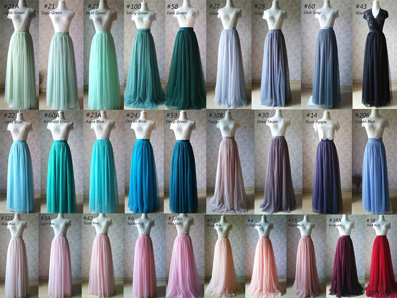 Tulle TUTU Color chart Color Swatches Women Tulle Skirt Wedding Tulle Outfits