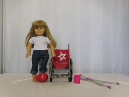 "American Girl 18"" Doll Pleasant Company Blonde Hair Brown Eyes + Wheelchair +  - $87.15"