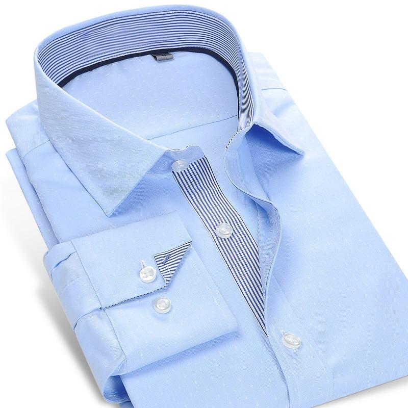 Primary image for Men's Micro Dot Dress Shirt Contrast Striped Placket Smart Casual Office Wear Do