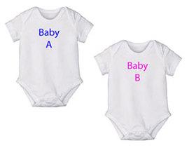 "Preemie & Newborn Twin Boy/Girl ""Baby A & B"" Onesies  - $30.00"