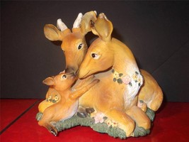 Deer Family Music Box Figurine Resin Buck Doe Fawn Getting To Know You 5... - $14.01