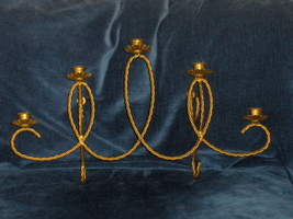 Home Interiors Wall Sconce Homco Brass Holds 5 Votive Candle Holder - $34.97