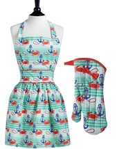 Jessie Steele Nautical Waves Viola Apron Oven Mitt Set Crab Anchor Design - $29.95
