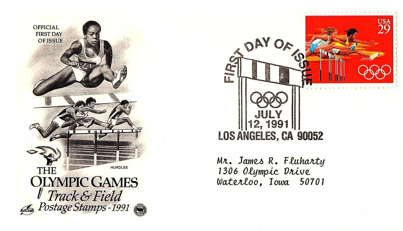 July 12, 1991 First Day of Issue, Postal Society Cover, Olympic Track & Field #1