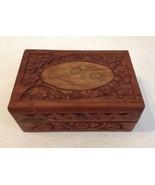 Carved Wood Flower Leaf Inlay Trinket Jewelry Box Keepsake Hinged Lid Lined - $35.00