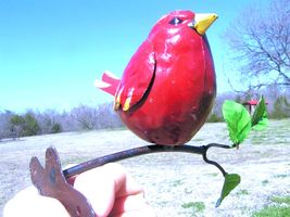 Metal art Red bird Cardinal on branch with mounting bracket - $29.98