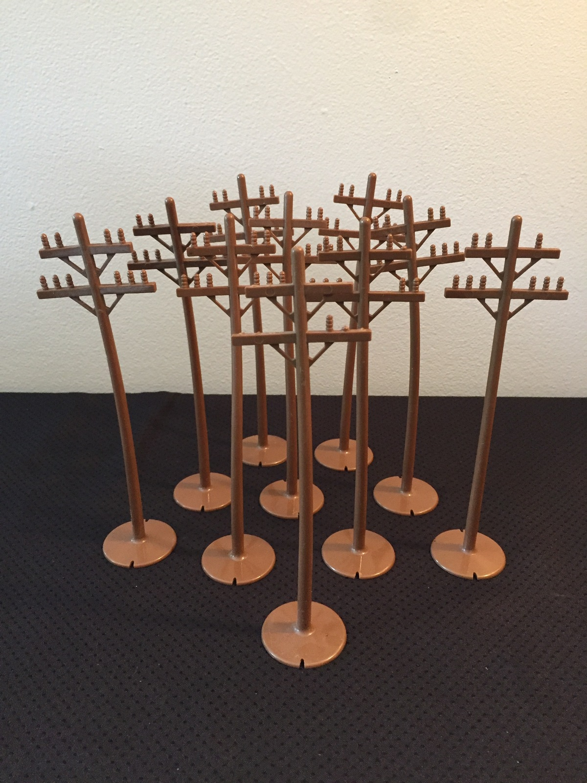 Vintage 60s Marx Brown Plastic Train Yard Utility poles (set of 10)