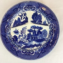 "Vintage Antique Blue Willow China 3 Part Slotted Plate Made in Japan 10"" - $10.39"