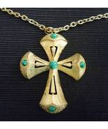 Large Goldtone Cross Pendant Necklace Green Beads - $7.95