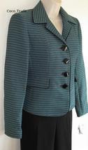 Suit Studio Pant Suit NWT $$$ 14P UK 18 Pacific Black Blue Aqua Woven Te... - $35.77