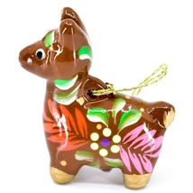 Handcrafted Painted Ceramic Brown Llama Confetti Ornament Made in Peru image 4