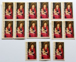 Vintage Christmas Stamps, Madonna and Child, USPS Postage, 1967, 15 Pieces - $4.25