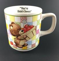 Enesco Rag Tag Teddies Coffee Tea Cup Bear w/ Strawberries Japan 1984 Mo... - $7.92