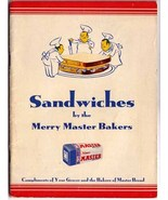 SANDWICHES by the Merry Master Bakers Hillman's - Vintage Booklet - $8.99