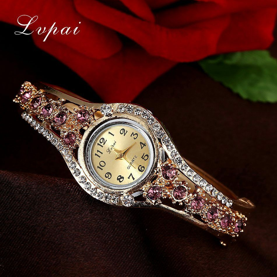 Lvpai® Luxury Watch Women Gold Flower Casual Quartz Crystal Dress Vintage Wrist image 5