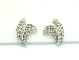 Crown Trifari Clear Rhinestone Art Deco Style Feather Silver Tone Clip Earrings - $39.59