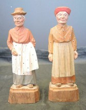 Antique Scandinavian Wood Carved Caricature of Two Women Signed DAR 6 1/... - $142.49
