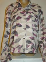 Christopher & Banks khaki tan jacket black purple white leaf print stret... - $18.65