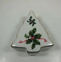 Lefton Christmas Tree Trinket Box Holly #03054 - $7.91