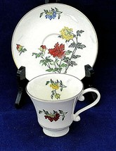Woodmere Studio Tea Cup and Saucer Set Floral Jewels China Made In USA - $19.79