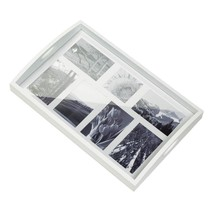 WHITE PHOTO FRAME TRAY 7 Picture Collage Wood Home Decor Gift - $29.98